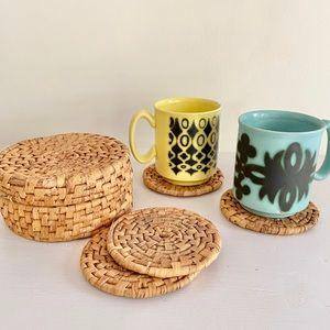 Vintage Woven Straw Coaster Set w/ Storage Basket